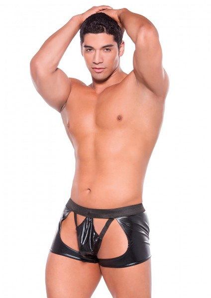 WETLOOK CHAPS WITH THONG BLACK OS